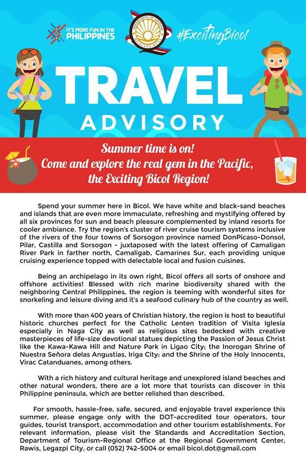 DOT 5 Travel Advisory : Trevally Travel and Tours